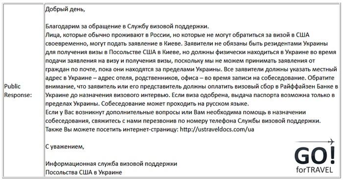 Подача документов на визу в США за границей для граждан России