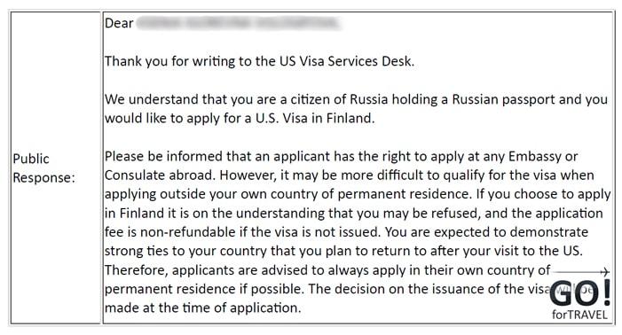 Подача документов на визу в США в Финляндии