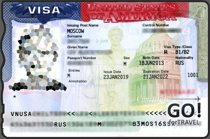 Образец американской визы для несовершеннолетнего ребенка 2019