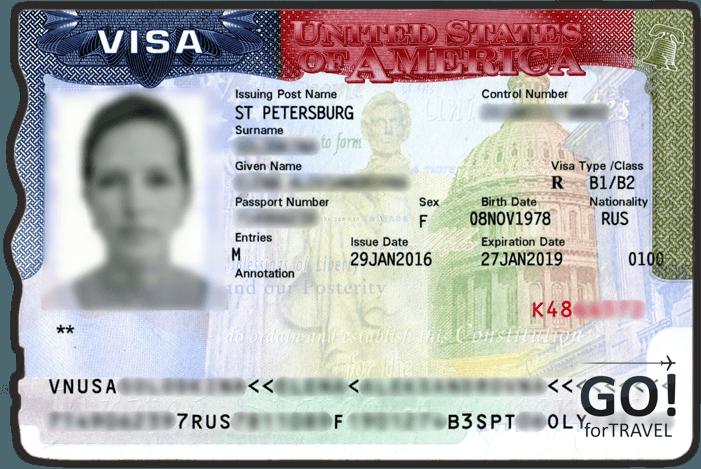 Образец многократной визы в США категории B1/B2