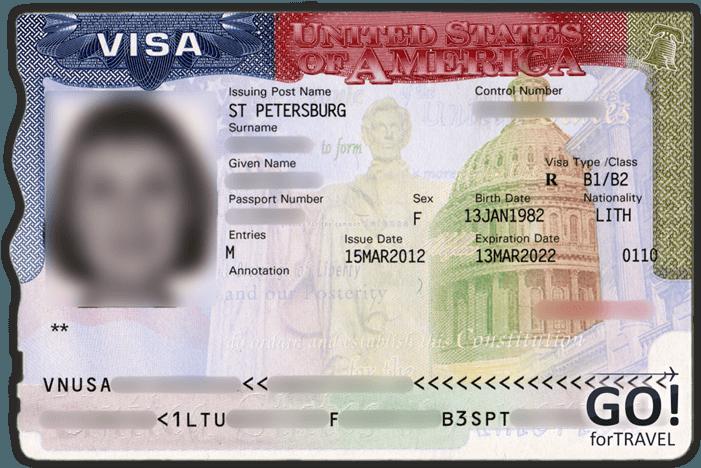 Образец многократной визы в США на 10 лет