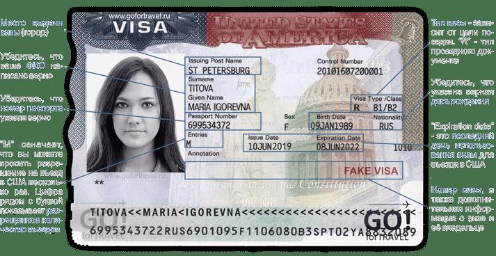 Образец туристической визы в США (2020)