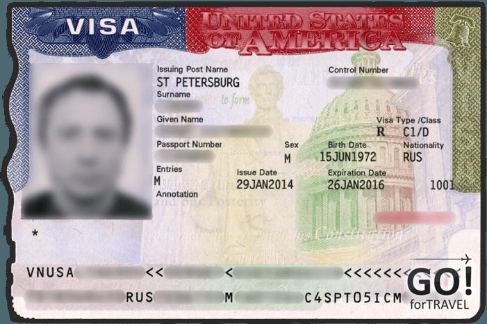 Пример транзитной визы в США выданной в Санкт-Петербурге