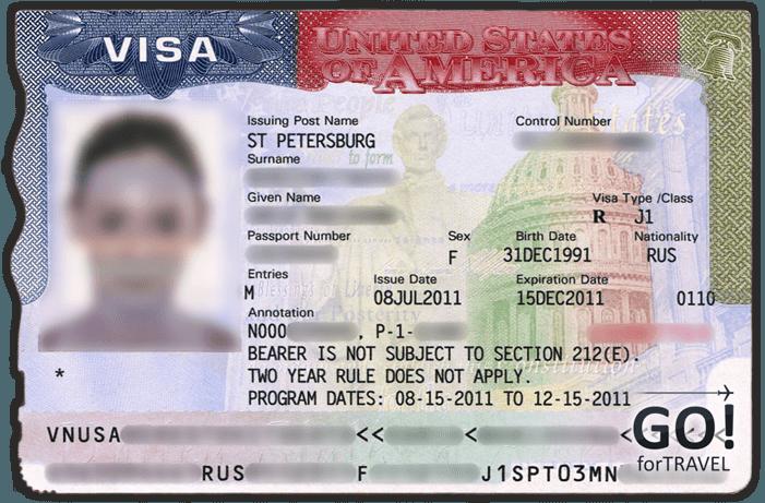 Образец визы в США J-1 для участников программ обмена